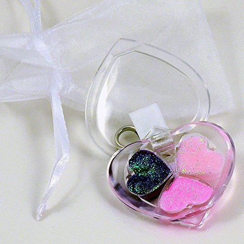 Price comparison product image Triple Heart Glitter Shimmer Lip Gloss Make-up Compact Gift with Backpack Clasp