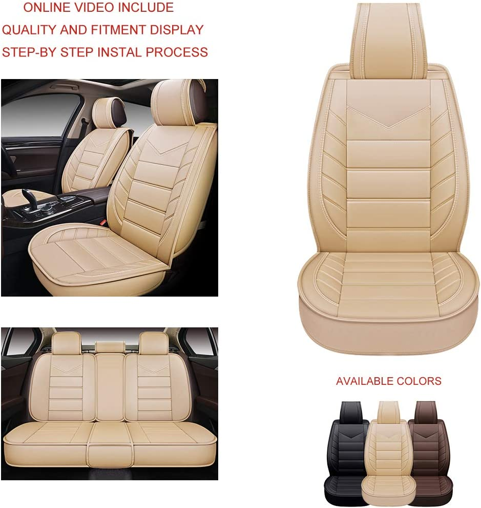 OASIS AUTO OS-001 Leather Car Seat Covers Faux Leatherette Automotive Vehicle Cushion Cover for Cars SUV Pick-up Truck Universal Fit Set for Auto Interior Accessories Front Pair, Burgundy