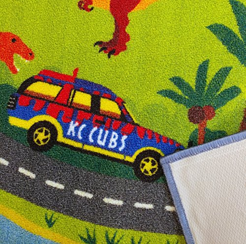 KC CUBS Playtime Collection Dinosaur Dino Safari Road Map Educational Learning & Game Area Rug Carpet for Kids and Children Bedrooms and Playroom (8'2'' x 9'10'') by KC CUBS (Image #2)