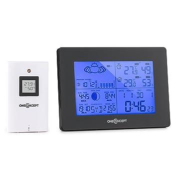 Oneconcept Bergen estación meteorológica (inalámbrica, Sensor LED Exterior, Alarma Despertador, indicador de Fases Lunares, Alcance máximo de ...