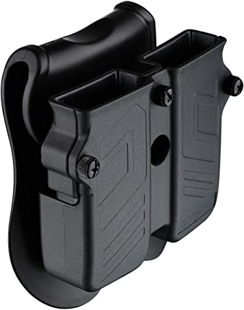 Double Magazine Holder, 9mm 10mm .40 .45 Single & Double Stack Magazine Pouch, Universal Magazine Holster for Glock/Sig sauer/S&W/Beretta/Taurus/H&K/Springfield/CZ/Ruger/1911 Mags