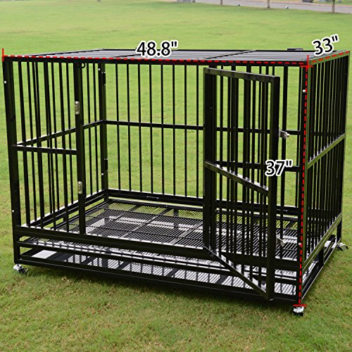 Heavy Duty Pet Dog Cage Strong Metal Crate Kennel Playpen w/ Wheels&Tray (48