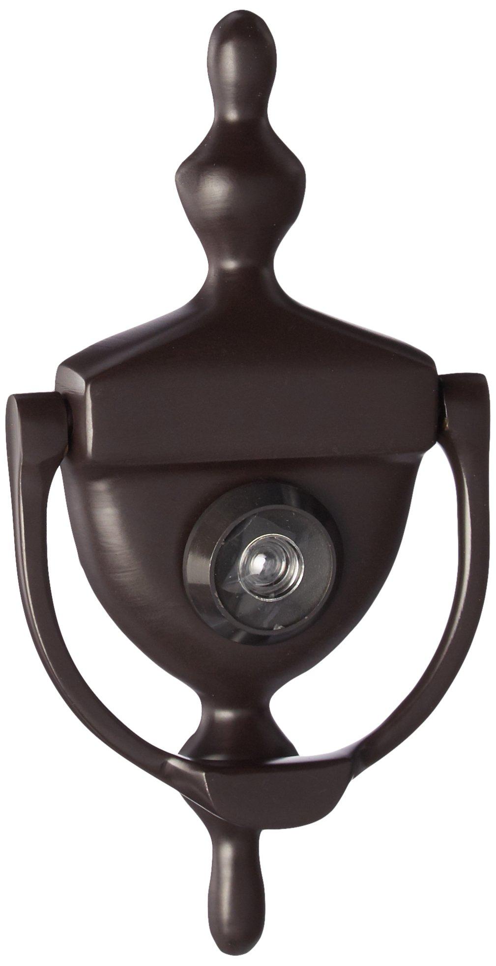 Deltana DKV630U10B Door Knocker with Viewer 1-3/4-Inch Max Door Thickness