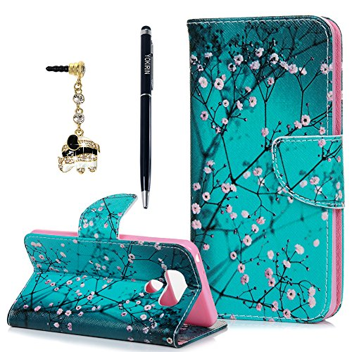 Price comparison product image LG G6 Wallet Case, YOKIRIN Premium Printed Flip Kickstand PU Leather Wallet Cover with Blossom Teal Pattern ID Credit Card Holder Magnetic Closure Protective Shockproof Resistant Skin for LG G6