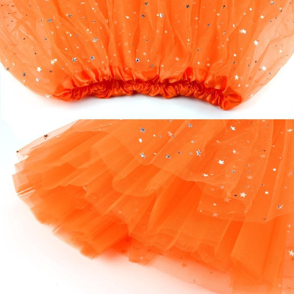 Sinwo Womens Girl Cute Pleated Gauze Short Skirt Adult Tutu Dancing Skirt Basic Skirt (Orange) by Sinwo (Image #3)