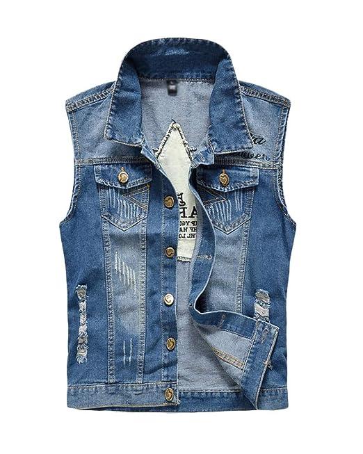 3958456068 Uomo Leggero Slim Fit Gilet di Jeans Senza Maniche Giacca Strappati ...