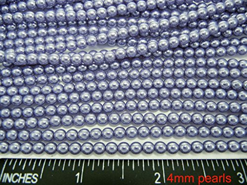 Czech Round Glass Imitation Pearls, 120pcs of 4mm Light Lavender Pearl