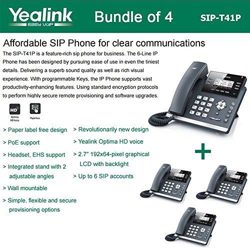 Yealink SIP-T41P Bundle of 4 IP Phone Revolutionarily New Design 3 VoIP Accounts by Yealink