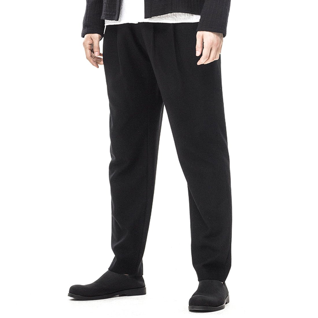 Kung Fu Smith Vintage Tai Chi Casual Wool Slim Fit Pencil Pants Trouser, Black M
