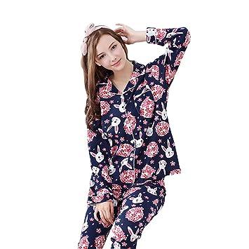 Pijamas Chaqueta de Punto de Primavera y otoño para Mujer Pijama de Solapa de Manga Larga ...