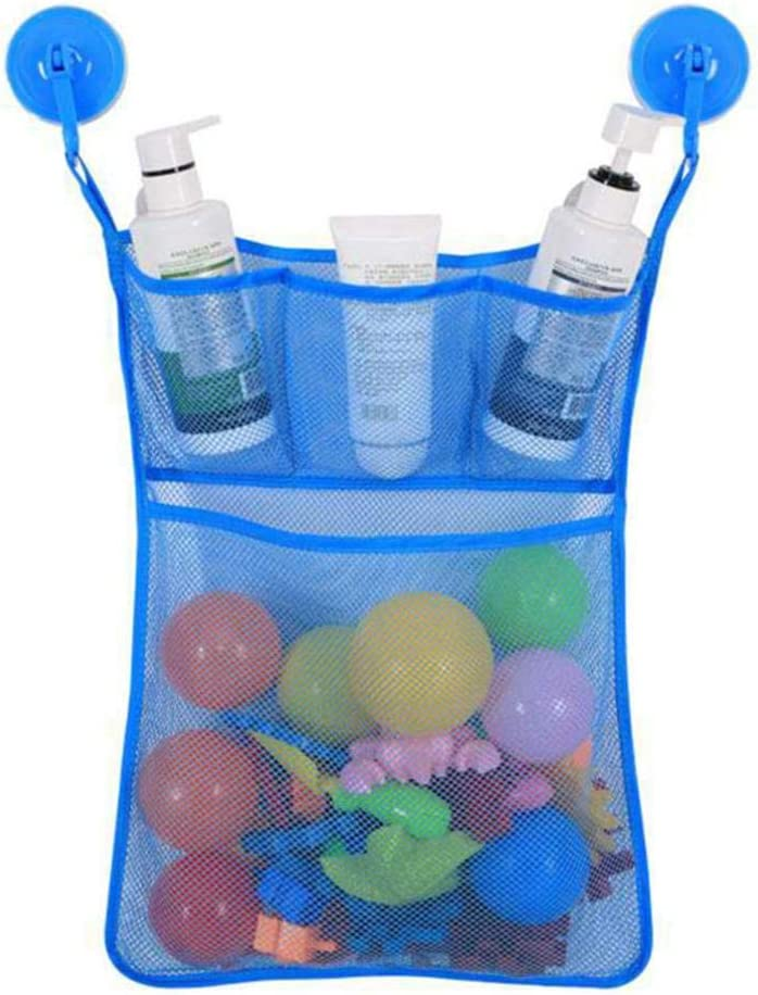 Portable Tidy Storage Suction Cup Folding Bag Kids Baby Bath Toys Baby Bathroom Toys Suction Cup Baskets Mesh Bag Organiser Net Blue 0781