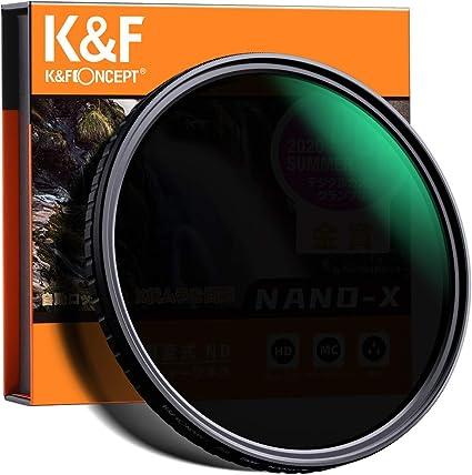 減光NDフィルター 82mm 可変式 X状ムラなし ND8-ND128フィルター 薄型 レンズフィルター K&F Concept【メーカー直営店】