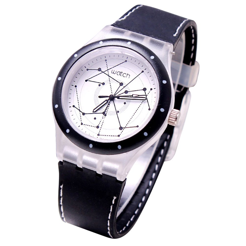 Fashion Students Boys Star Line Round Dial Analog Quartz School Wrist Watch