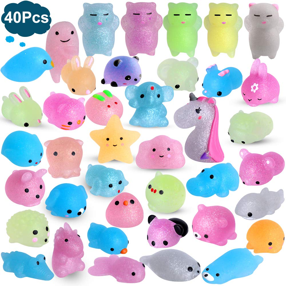 Outee Mochi Squishies Animals, 40 Pcs Mochi Squishies Toys 2nd Generation Mini Toys Stress Relief Squishies Random Animals Squishies Toys Glitter Mini Elephant Squishies for Kids Adults by Outee
