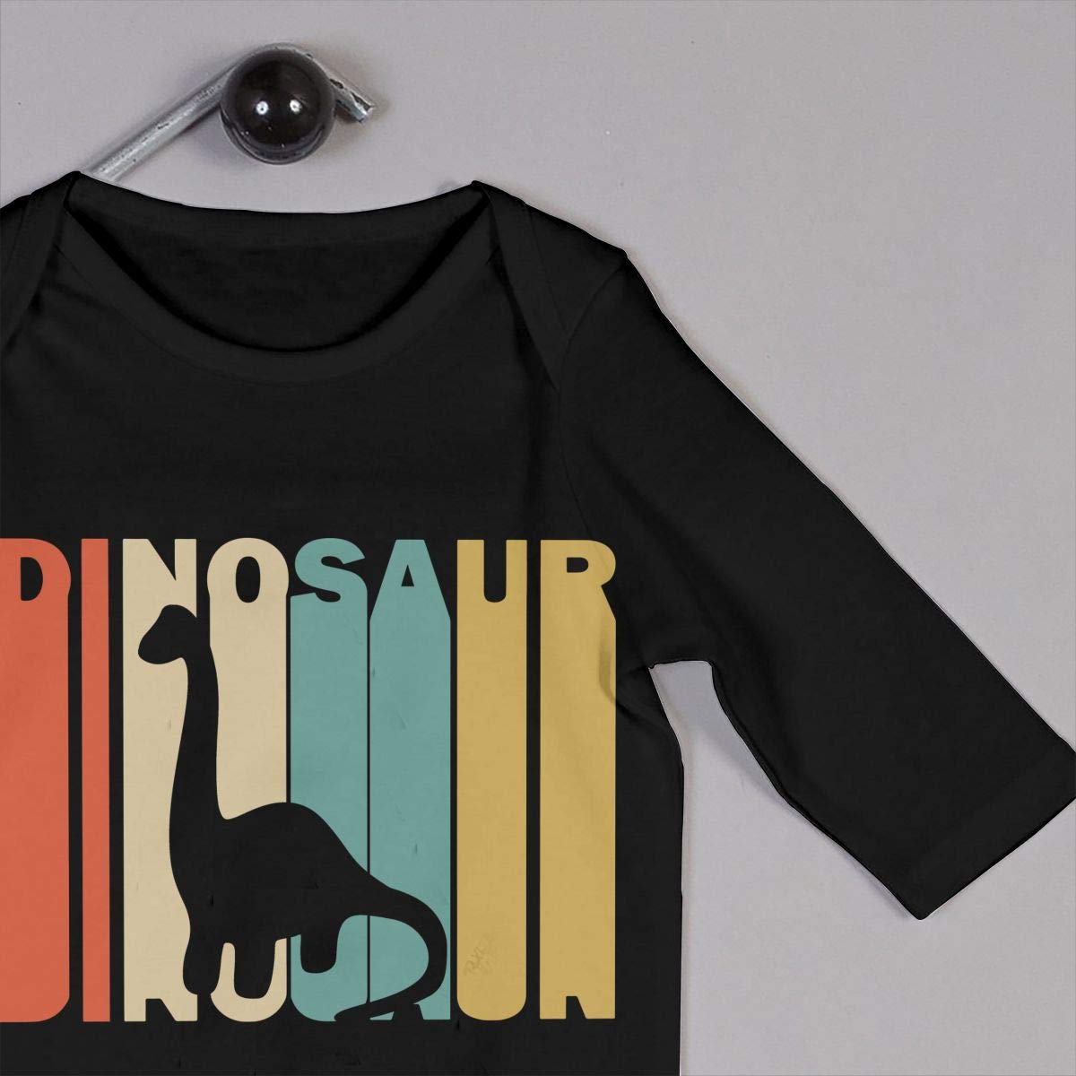 Soft Retro Style Dinosaur Silhouette Jumpsuit Black Long Sleeve Cotton Rompers for Unisex Baby