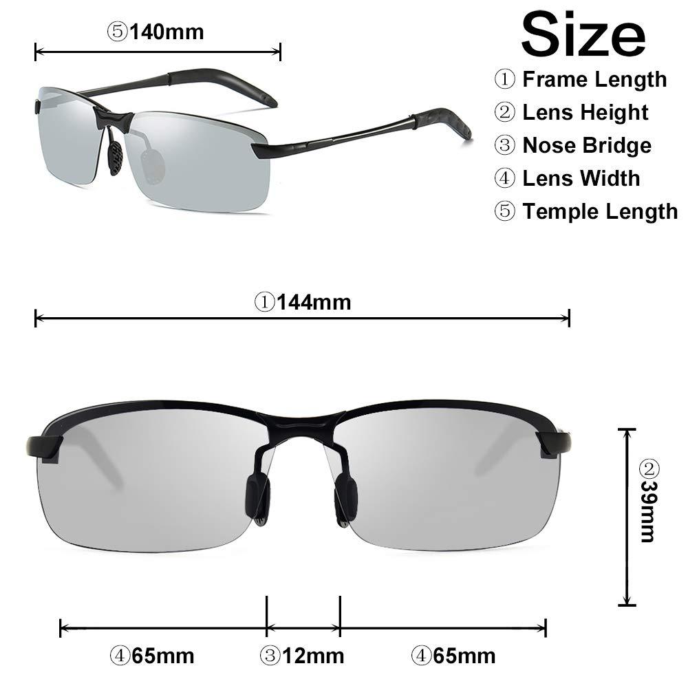 AMZTM Notte Visione Riduzione dellabbagliamento Occhiali Da Guida Notturna Mezza Montatura Polarizzate Occhiali Da Sole Da Uomo