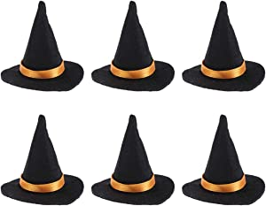 6pcs Mini Felt Witch Hats Handmade Wine Bottle Decor for Halloween Party Favors DIY Hair Accessories Crafts (Black)