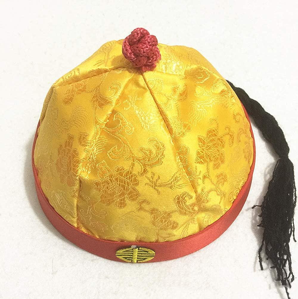 Zhou Decorativo per Giocare a ruoli Circonferenza 59 cm Colore: Giallo Cappello da imperatore Cinese Antico
