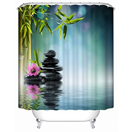 Bamboo With Black Stones Fabric Shower Curtain Spa Decor Kin By Nicola Water Resistant