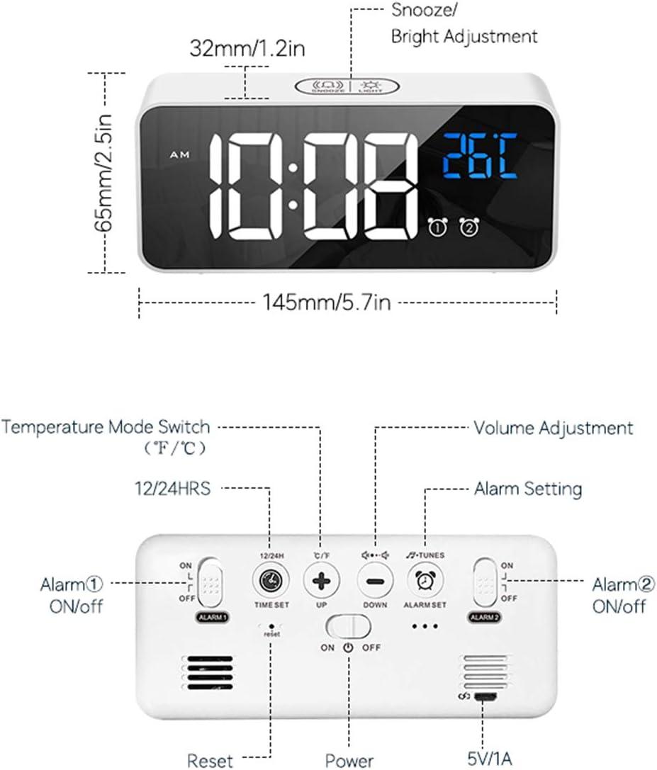 Port De Charge USB Noir 0-100/% Luminosit/é R/églable Horloge de Chevet pour Chambre /à Coucher Reveil Matin LED avec Fonction Snooze REACHER R/éveil Num/érique
