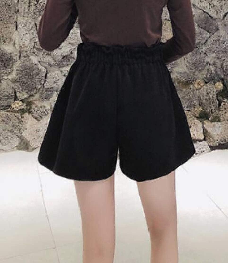 Cromoncent Womens Wool Blend Elastic Waist High Waist Loose Fit Short Pants