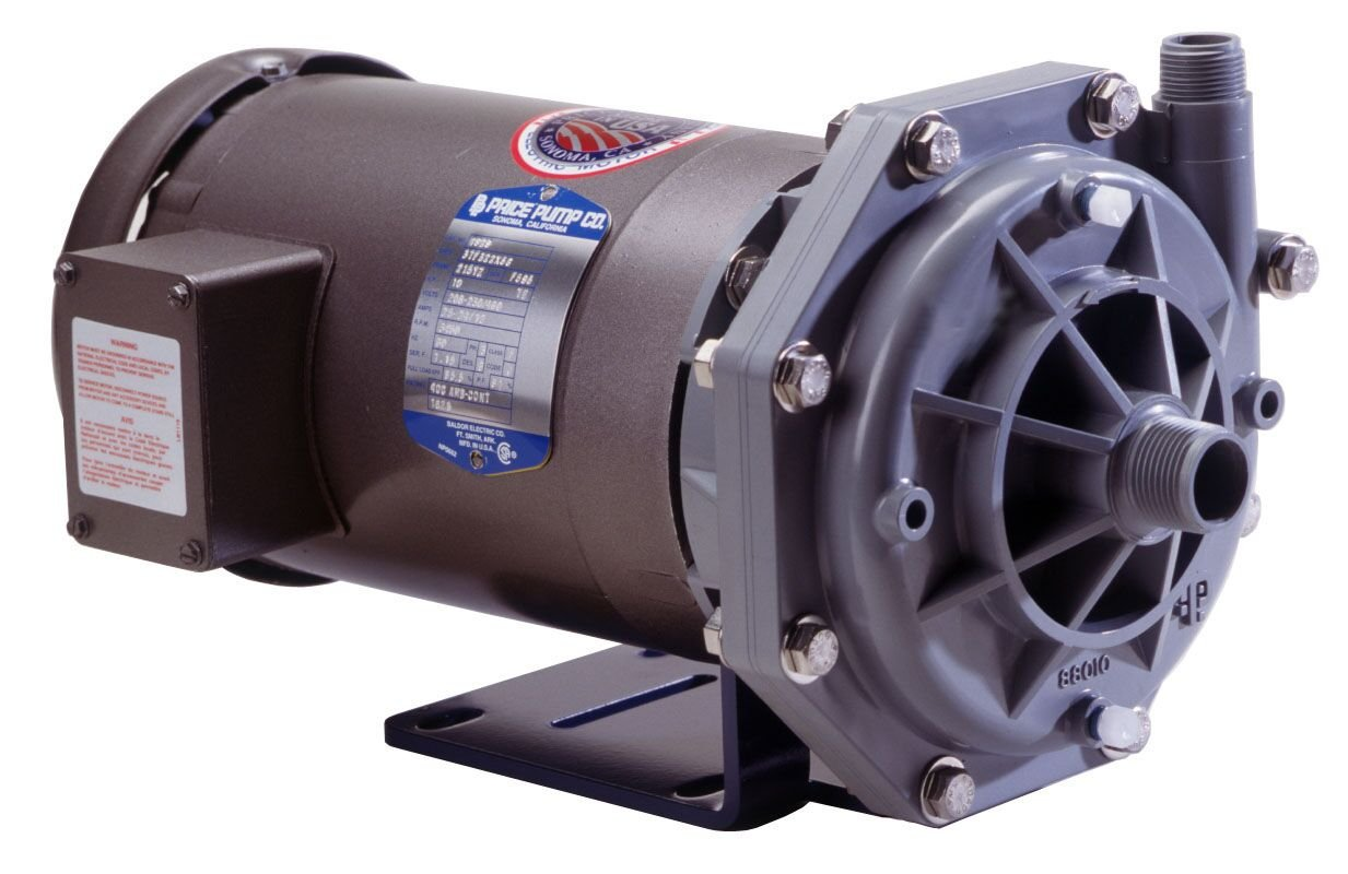 Image of Centrifugal Pumps Price Pump OH75CP-612-36211-300-36-3T7 Close Coupled Plastic Horizontal Centrifugal Pump, CPVC, 3HP, max 68 GPM, TEFC Motor Enclosed, 65 GSM Maximum Flow Rate, Chlorinated Polyvinyl Chloride