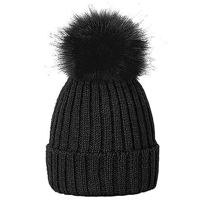 3b6aedf07c9 LIVERPOOL ENTERPRISES LTD LADIES BLACK POM POM HAT WINTER CAP COSY BEANIE  WARM HAT FLUFFY POM POM  Amazon.co.uk  Kitchen   Home