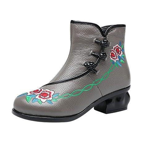 Logobeing Botas Mujer Invierno Botas de Mujer Casual Antideslizantes Zapatos Mujer Botines Mujer Tacon Estilo Bohemia