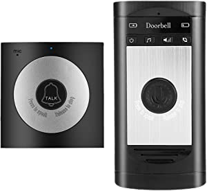 Wireless Voice Intercom Doorbells,Two-Way Talk Home Doorbell Intercom Kit LED Indoor Outdoor Interphone System Home Security System(Silver)