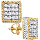 FB Jewels Solid 10kt Yellow Gold Mens Round Diamond Square 3D Cluster Stud Earrings 1.00 Cttw