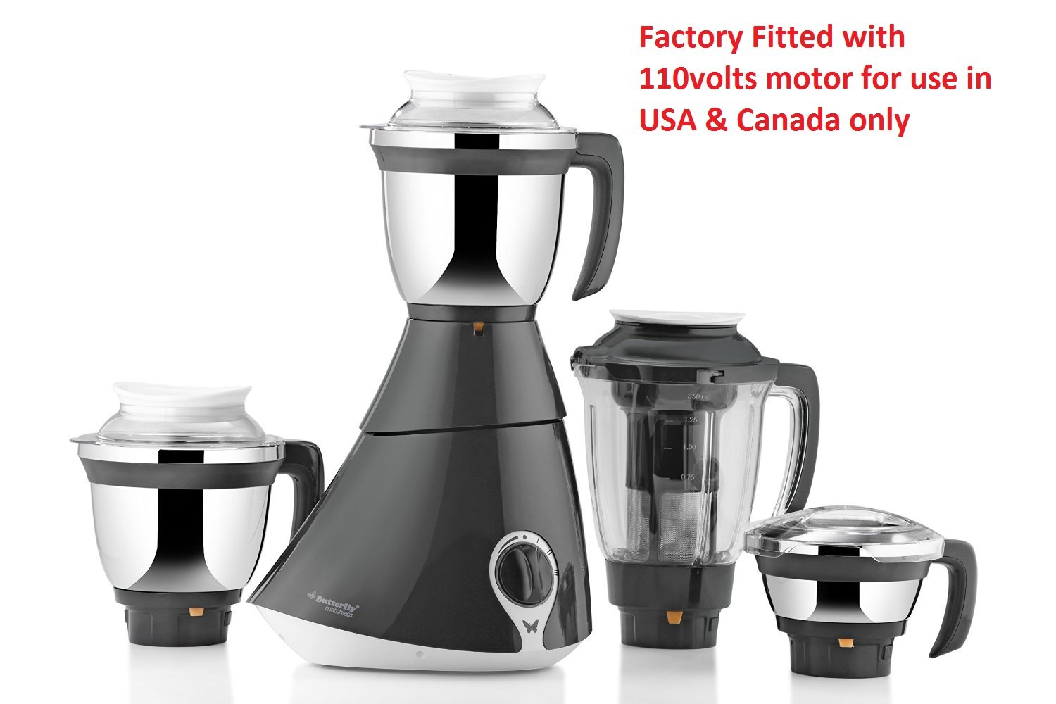 Buy Butterfly Matchless 750-Watt Mixer Grinder with 4 Jars (110Volts ...