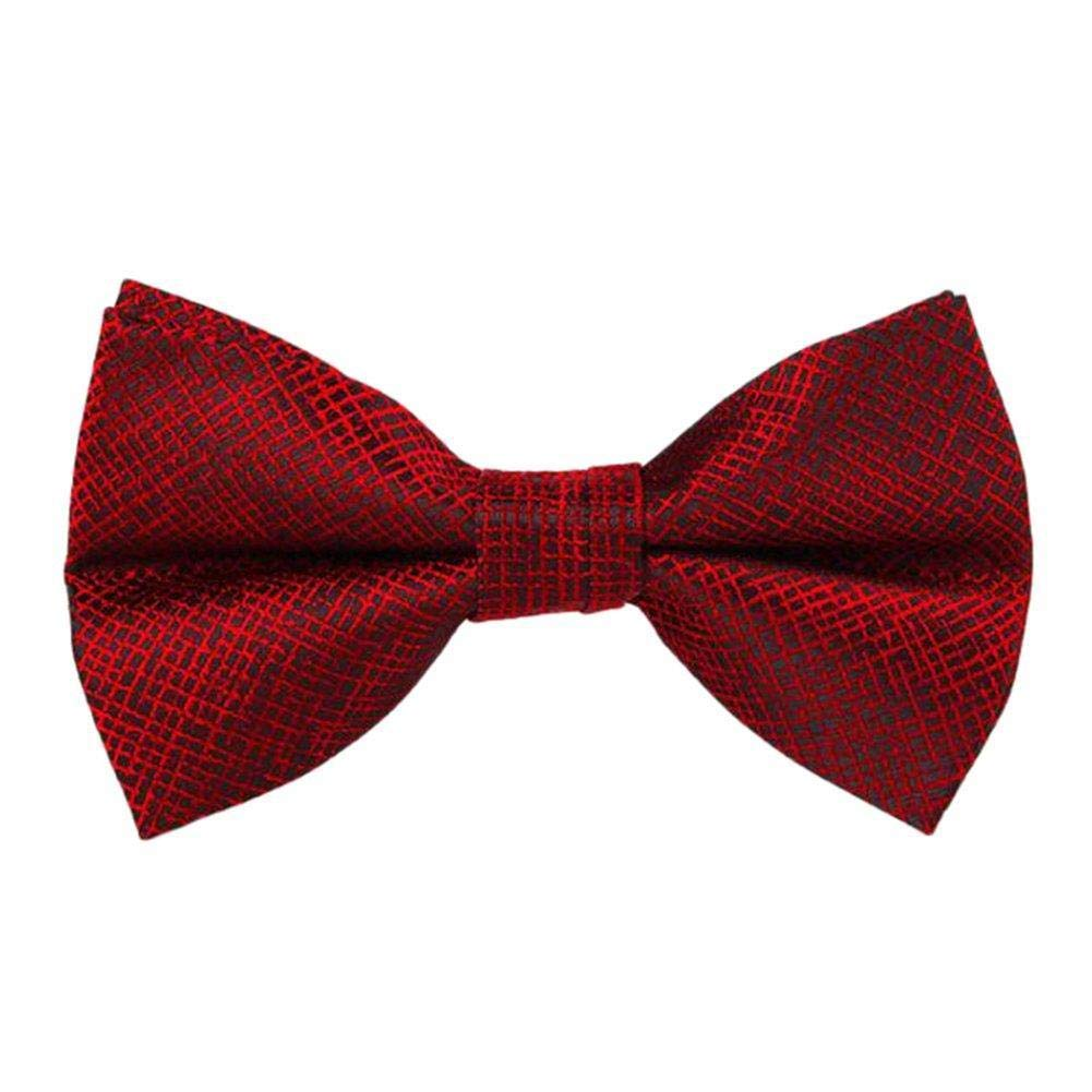 Huojingli Mens Bow Ties Classic Grid Adjustable Pre Tied Satin Formal Tuxedo Bowtie for Wedding Party Fancy Plain Necktie Red