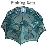 Newest 4-20 Holes Automatic Folding Fishing Net Shrimp Cage Nylon Foldable Crab Fish Trap Cast Net Cast Folding Fishing Network - 10 Sides 20 Holes