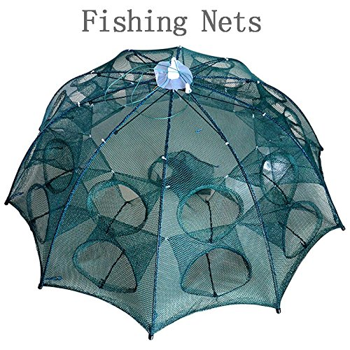 Newest 4-20 Holes Automatic Folding Fishing Net Shrimp Cage Nylon Foldable Crab Fish Trap Cast Net Cast Folding Fishing Network - 10 Sides 20 Holes by DNTGODY