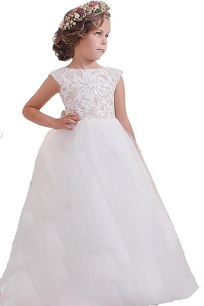 VIPbridal Scoop encaje flor vestidos de las niñas cinturón largo vestido primera comunión (2)