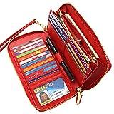 Women RFID Blocking Wallet Genuine Leather Zip Around Clutch Large Travel Purse Red