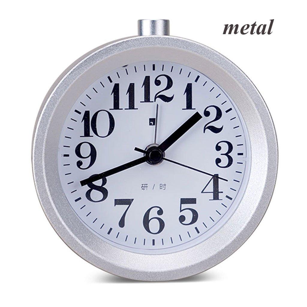 実際の木の学生の創造的な目覚まし時計のミュートの子供の時計と時計パーソナリティ光る電子寝室 (Color : Metal white) B07CTBJZW1 Metal white Metal white