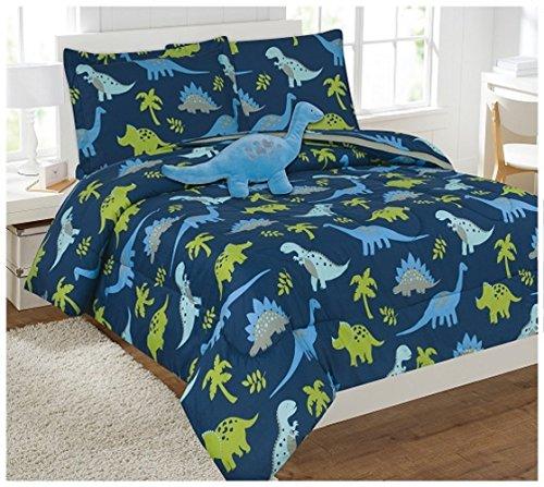 6 Piece Comforter Set Kids Bed in a Bag- Twin (Dinosaur Sky Blue)