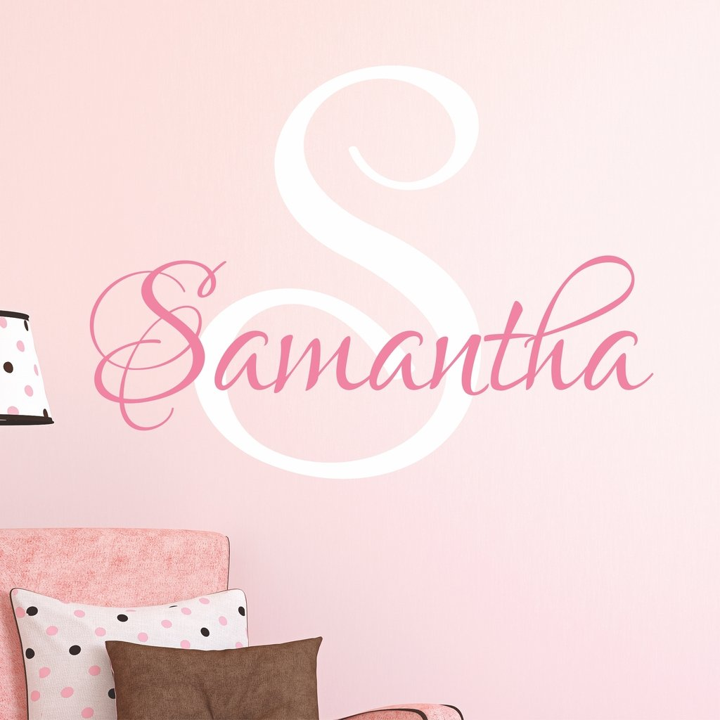 Nursery Custom Name Wall Decal Sticker, 34'' W by 29'' H, Girl Name Wall Decal, Girls Name, Wall Decor, Personalized, Girls Name Decor, Girls Nursery, Girls Bedroom, PLUS FREE WHITE HELLO DOOR DECAL