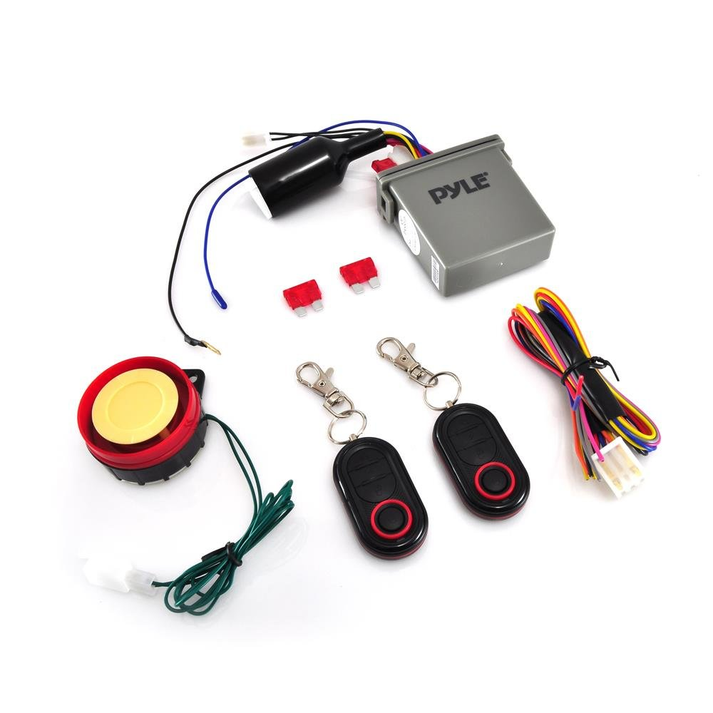 Pyle Watch Dog Motorcycle Bike Vehicle Alarm Anti Theft Security System Lock with Easy Arming/Disarming, Remote Auto Start, ECU Transmitter, Anti-Hijack Engine Shut Down, High Power Speaker - PLMCWD25