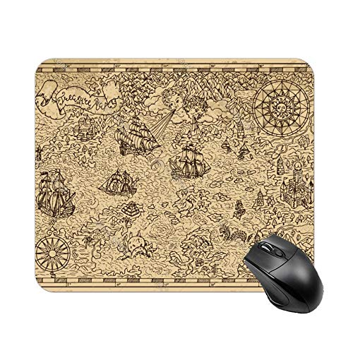 FGN Mouse Pad Pirate Map with Fantasy Elements Mousepad Non-Slip Rubber Gaming Mouse Pad Rectangle Mouse Pads for Computers -