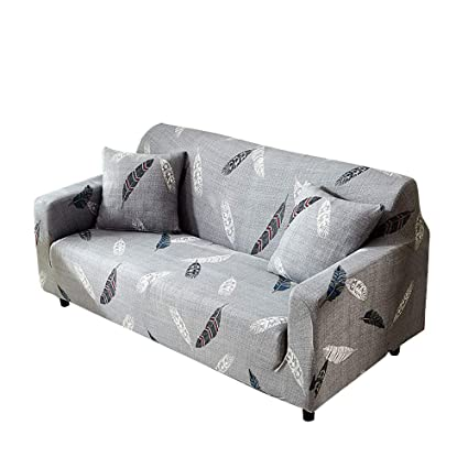 Funda para sofá elástica, antideslizante, estampado de plumas y flores moderno y simple, de 1/2/3/4 plazas, protector para mascotas, pluma, 3-Seater ...