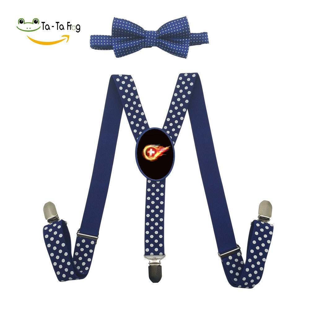 Xiacai Switzerland Soccer Suspender/&Bow Tie Set Adjustable Clip-On Y-Suspender Boys