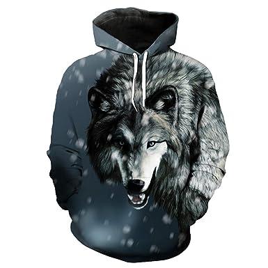 W-WORDEW Sudadera Casual para Hombre Paseos De Nieve Sudadera con Estampado 3D De Lobo Gris Y TamaÑO EUR: Amazon.es: Ropa y accesorios