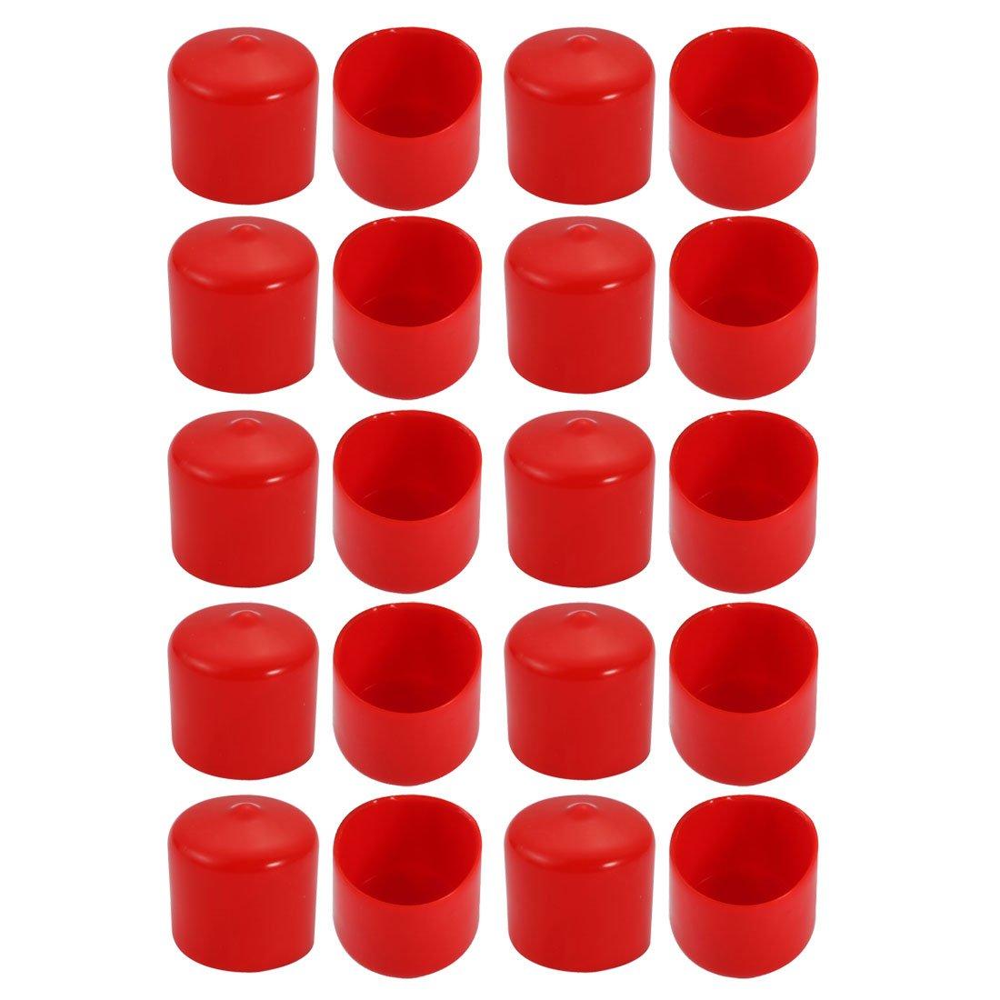 uxcell 20Pcs 25mm Inner Dia PVC Flexible Vinyl End Cap Screw Thread Protector Cover Red