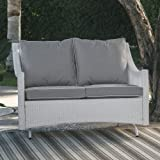 All Weather Wicker Patio Loveseat Glider with Cushion in White