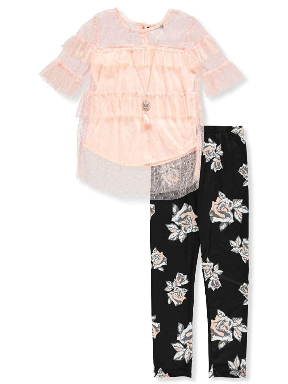 RMLA Girls' 2-Piece Leggings Set Outfit with Necklace
