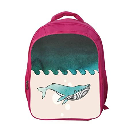 9b44929868c8 iPrint School Bags Kid's Backpacks Strong Durability,Whale,Fish Swimming in  The Ocean Pattern