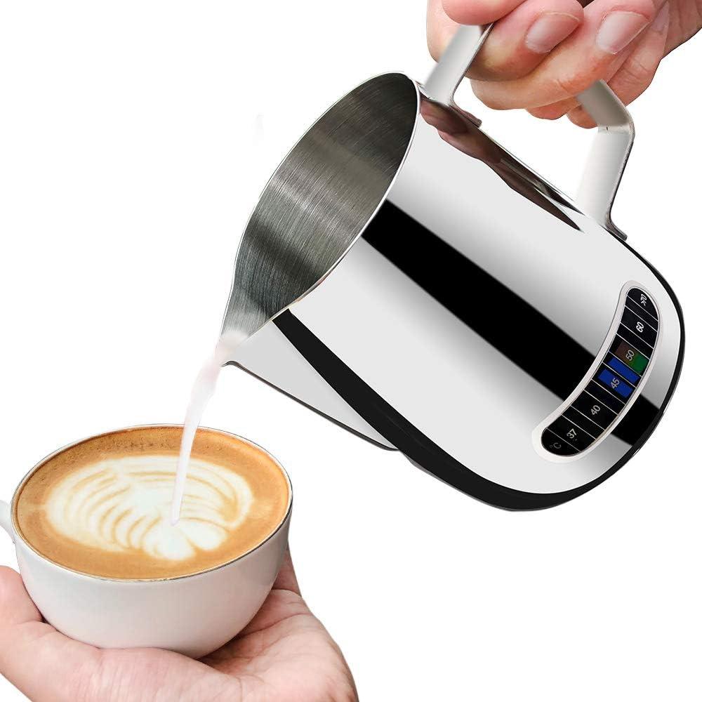 Jarra de espuma de leche con termómetro de 600 ml, jarra de acero inoxidable para café y espuma, taza de leche de cocina para el hogar 600 ml