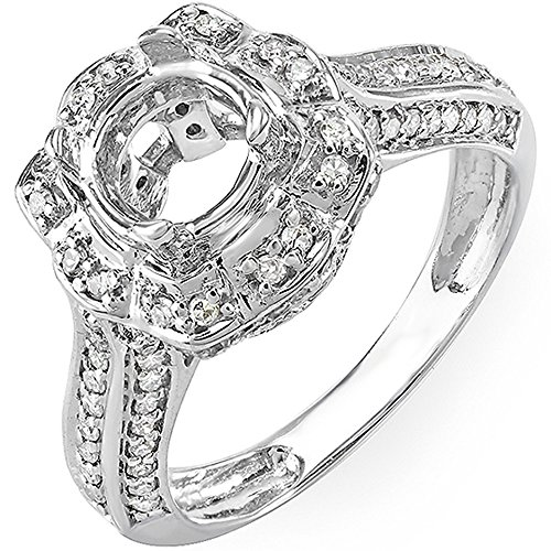 Womens Diamond Semi Mount (0.55 Carat (ctw) 10K White Gold Round Diamond Semi Mount Ladies Engagement Bridal Ring 1/2 CT (Size)